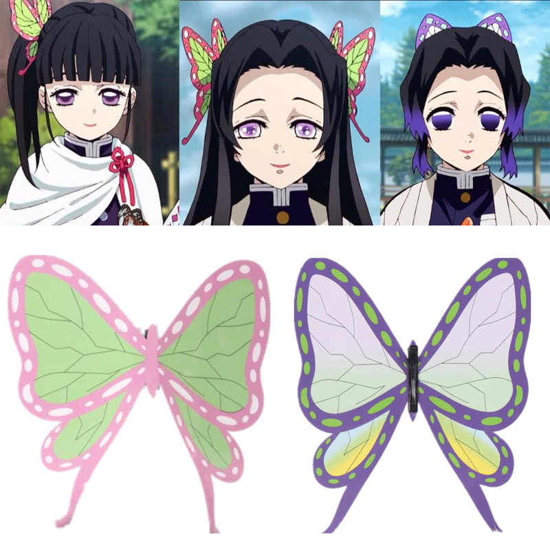 Anime Demon Slayer Kimetsu No Yaiba Kochou Shinobu Women Girls Cosplay Props Butterfly Headwear