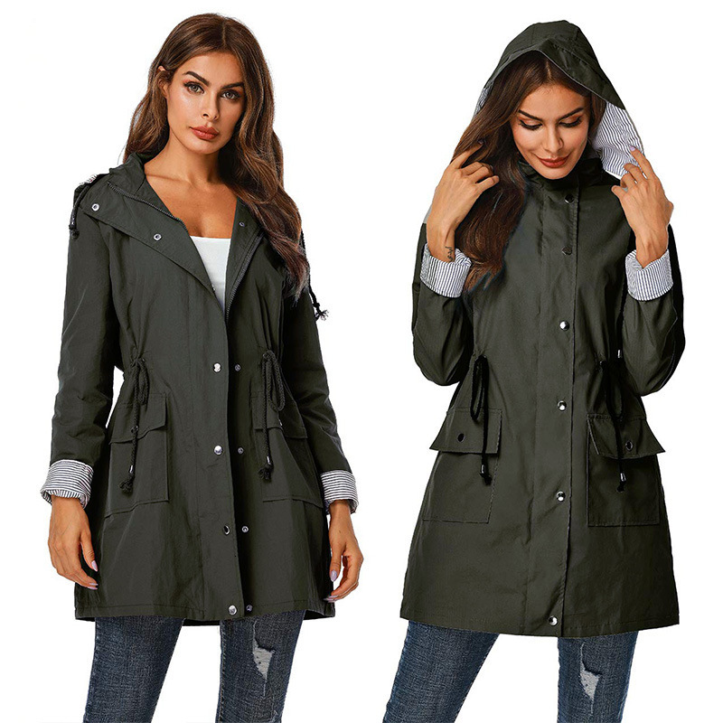 Whoholl 2019   Trench   Coat Spring And Autumn Women Causal Coat Long Sleeve With Hood Solid Color Female Moda Muje High Quality XXL