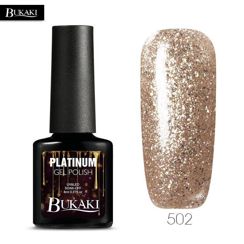 BUKAKI Super Shining Effect Platinum Gel Varnish Long Lasting Glitter UV Gel Nail Polish Soak Off 12 Colors Nail Art