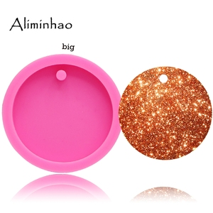 DY0079 50mm/75mm shiny Round Circle With Hole Disk Keychains silicone mold for Key chain Pendant clay DIY Resin mold(China)