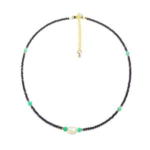 Image 2 - Black Spinels Baroque Pearl Onyx Beads Gold Filled Necklace Popular Bohemian Hawaii Clavicle Jewelry for Women Nice Gift 39 44cm