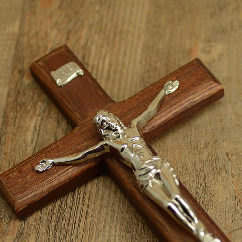 โบสถ์สิ่งประดิษฐ์,ไม้ Solid CROSS พระเยซูตรึงบนชั้นวาง,ตกแต่งโต๊ะ, โบสถ์ 29 ซม.ของขวัญคาทอลิก