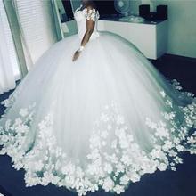 SuperKimJo White Wedding Dresses for Bride 2020 Handmade Flowers Princess Luxury Floral Wedding Ball Gown Robe De Mariee