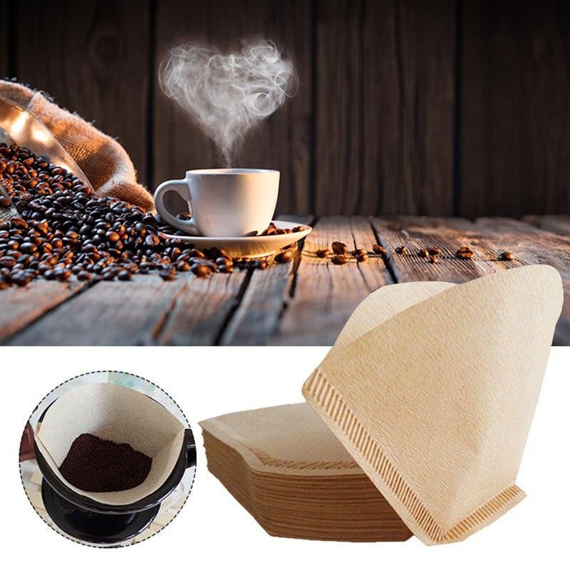 100Pcs/Bag Log pulp Wooden Coffee Filters Tea& Coffee Tools Kitchen Bar Supplies Original Hand Drip Paper Coffee Filter Espresso|Coffee Filters|   - title=