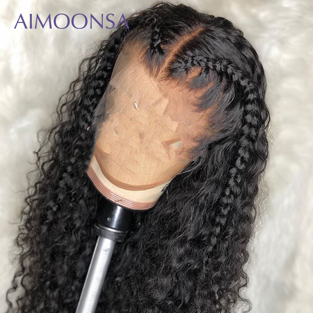 Undetectable Lace Wig Full Lace Wigs Human Hair With Baby Hair Curly Wig Ponytail Invisible Knots Peruvian Remy Hair Aimoonsa