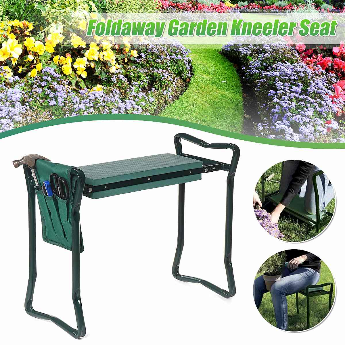 1Pcs Folding Garden Kneeler Tool Bag Pouch Tool Storage Bag Portable Garden Stool With EVA Foam Mat Multifunctional Chair Seat