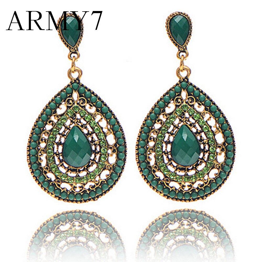Ethnic Tribal Antique Indian Big Earrings Bohemian Ear African Earrings For Women Black Ethnic Jewelry Earrings Prom Gifts Green