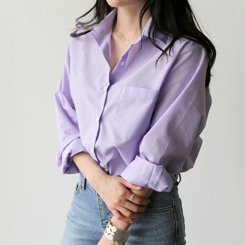 Women Shirts Striped Blouses Office Ladies Tops Turn-down Collar Long Sleeve Elegant Female Tops Korean Shirt Lavender Blusas
