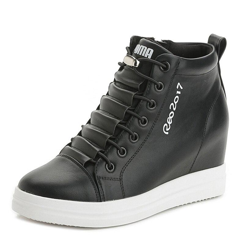 プラットフォーム女性の靴ウェッジ高増加内部レースアップ学生ウォーキングシューズ女性スニーカーサイズ 34  40  グループ上の 靴 からの レディースパンプス の中 1