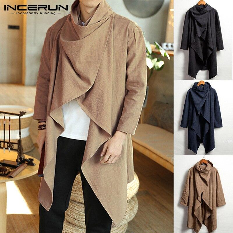 INCERUN Vintage Men Coats Cotton Turtleneck Irregular Trench Ponchos Casual Long Sleeve Cloak Solid Street Jackets Men Outerwear
