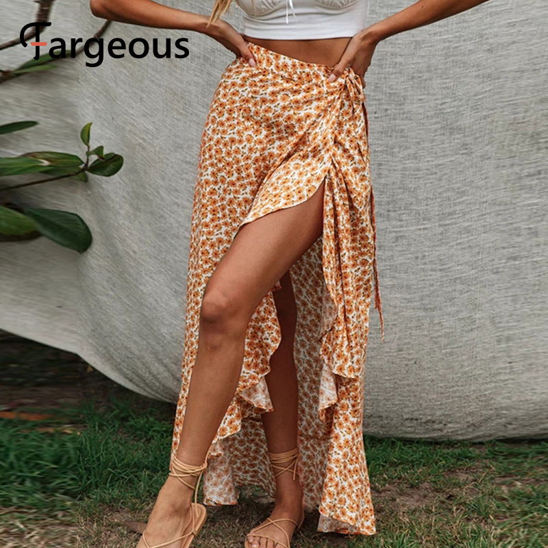 Fargeous Boho Print Wrap Skirt Women 2020 Summer Casual Beach Holiday Ruffle Long Skirt Ladies Fashion High Waist Skirt Female