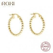 ROXI Ins Runde Kleine Perlen Hoop Ohrringe für Frauen Mädchen Ohrringe Knorpel 925 Sterling Silber Schmuck Pendientes Ohrringe