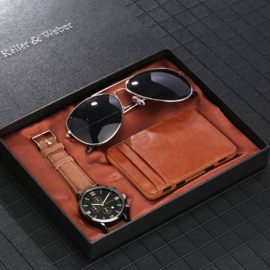 Luxury Rose Gold Men's Watch Business Leather Wallet Fashion Sunglasses Sets for Men Unique Souvenir Gifts for Boyfriend Husband 2020 2021 SKMEI WATCHES (6)