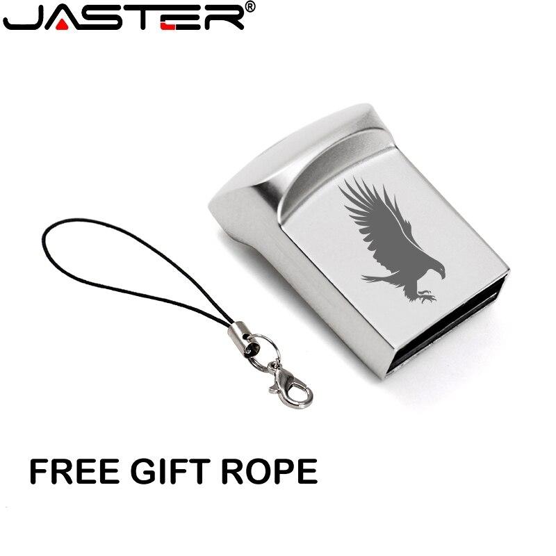 JASTER USB 2.0 Mini Metal Silver With Keychain Usb Flash Drive 4GB 8GB 16GB 32GB 64GB 128GB Pendrive (over 10PCS Free LOGO)