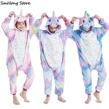 Rainbow-Pajamas Sleepwear Unicorn Kigurumi One-Piece Children's Girls for 8-12years Hooded