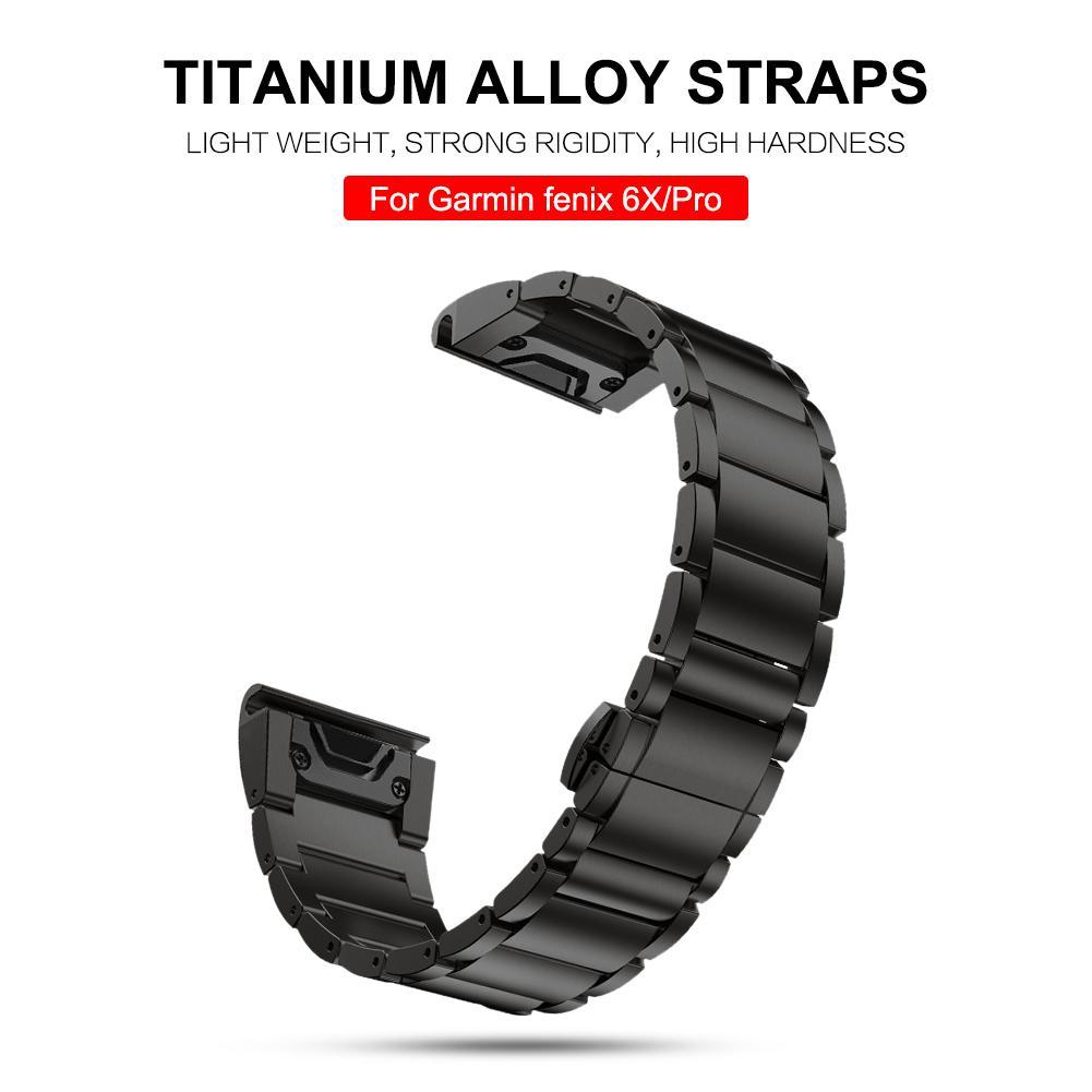 Replacement Watch Band 26mm Titanium Alloy Smart Bracelet Strap Luxury Wristband For Garmin Fenix 6X / Fenix 6X Pro Accessories