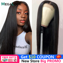 Megalook Lace Closure Wig 4x4 Closure Wig Brazilian Straight Hair Lace Front Wig Remy Hair Wig Natural Color 150 180 Lace Wigs