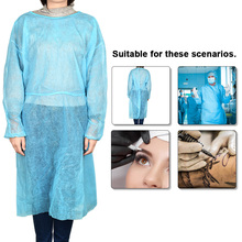 Disposable Surgeon Isolation Surgical Gown with Elastic Cuff Non-Woven Splash Resistant for Eyebrow Artist (Blue)