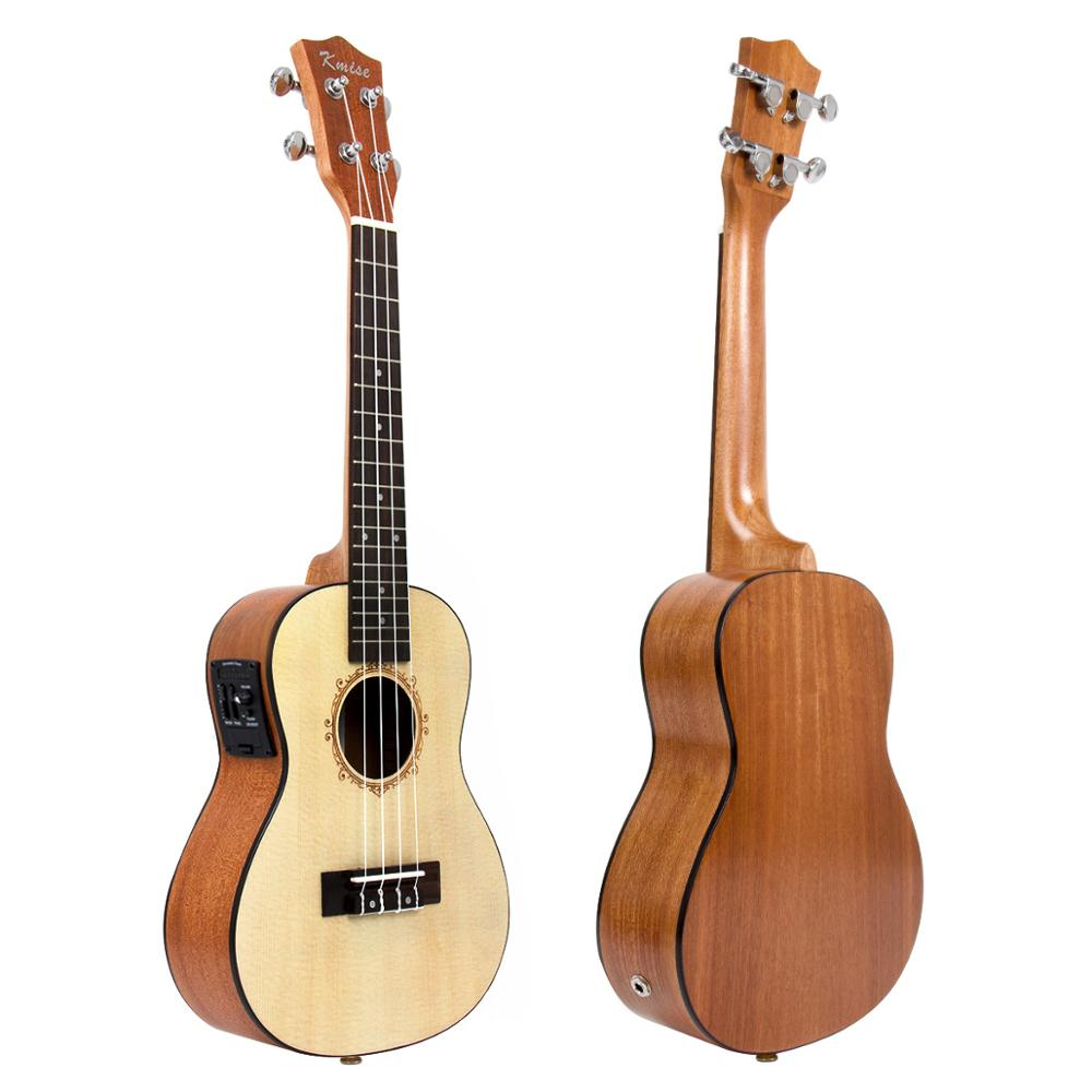 Kmise Concert ukulélé électrique acoustique en épicéa massif Ukelele 23 pouces 18 frettes Uke 4 cordes Hawaii guitare