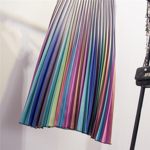 Image 5 - Marwin 2019 Spring New Coming Women Skirts Rainbow Striped A line Mid Calf Skirts High Street European Style High Quality Skirts