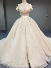 2020 יוקרה נצנצים חתונה שמלות קו כנסיית כלה שמלת נסיכת חתונת שמלת גודל/צבע