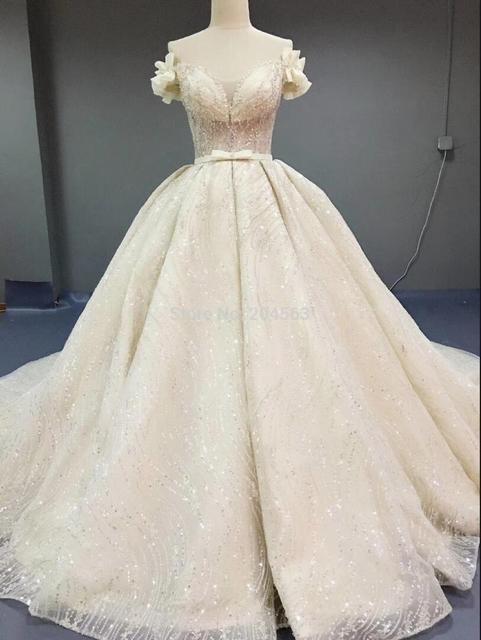 Robe de mariée luxueuse, à paillettes, robe de mariée princesse ligne A, taille/couleur, modèle 2020