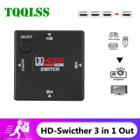 Miniconmutador HDMI HD de 3 entradas y 1 salidas, conmutador hembra a hembra, separador de caja para HDTV 1080P, conmutador de vídeo