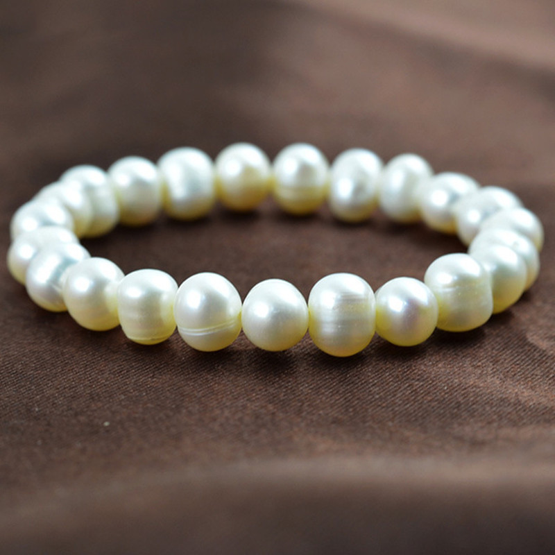 2019 New Style Natural Freshwater Pearl Bracelet Silver White Fashion Womans Bangle Birthday Party Gift