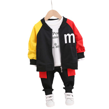 Autumn Children Baby Clothes suit Boys Girls sports Coat Letter Long Sleeve Pants 3Pcs/sets Kids clothing Toddler Tracksuits new 2017 spring boys letter patch denim clothing sets 3pcs kids clothes sets baby boys denim suit kids jeans