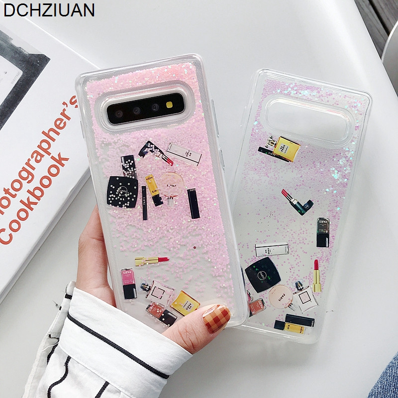 DCHZIUAN Dynamic Cosmetrics Liquid Phone Case for Samsung Galaxy S10 S8 S9 Plus Note 8 9 Fashion Glitter Bling Quicksand Case image
