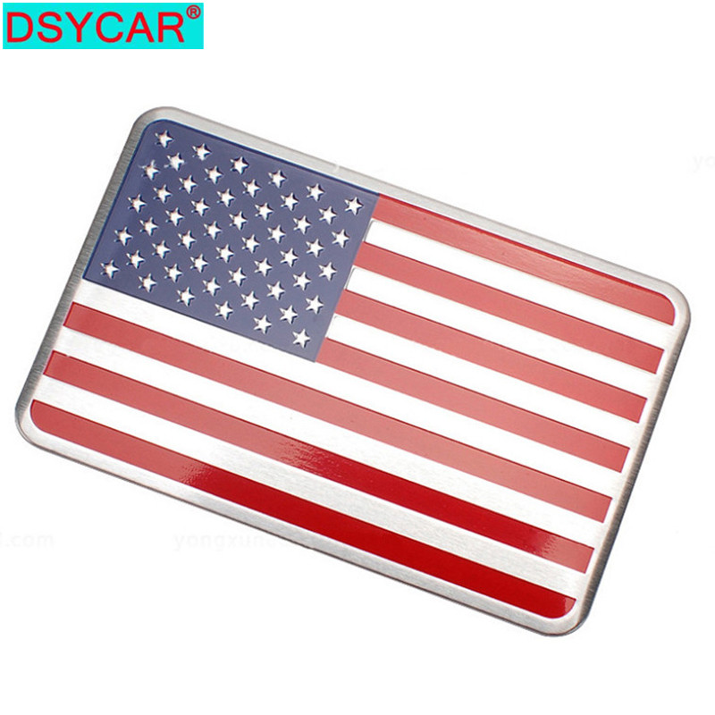 DSYCAR Auto Motorcycle Exterior Accessories Great Country United States of America USA National Flag Aluminum Alloy Car Stickers(China)