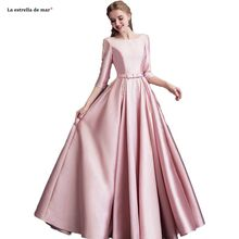 Vestido madrinha longo2020 new satin pearl Three Quarter sleeve A Line pink bridesmaid
