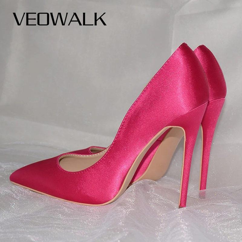 Veowalk Rose Pink Women Satin Stilettos High Heels Slip On Pointy Toe Silk Pumps Elegant Ladies Wedding Bridal Dress Shoes