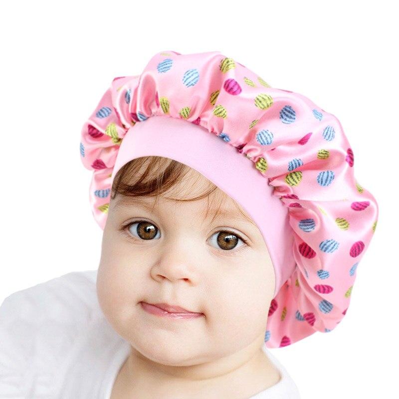 Cute Pattern Bonnet Night Sleep Cap for Children Kids Satin Wide-brimmed Elastic Turban Chemo Hat Girl boy Hair Care Accessories(China)