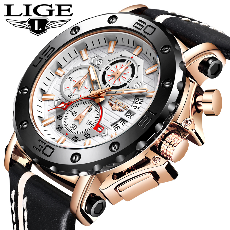 LIGE New Mens Watches Top Brand Luxury Military Sport Watch Men Leather Waterproof Clock Quartz Wristwatch Relogio Masculino+Box