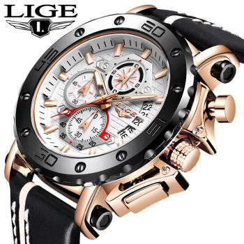 LIGE New Mens Watches Top Brand Luxury Military Sport Watch Men Leather Waterproof Clock Quartz Wristwatch Relogio Masculino+Box relogio masculino lige mens watches top brand luxury quartz clock male date large dial fashion waterproof military sport watch