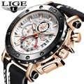 LIGE nouveau hommes montres haut de gamme de luxe militaire Sport montre hommes en cuir étanche horloge Quartz montre-bracelet Relogio Masculino + boîte