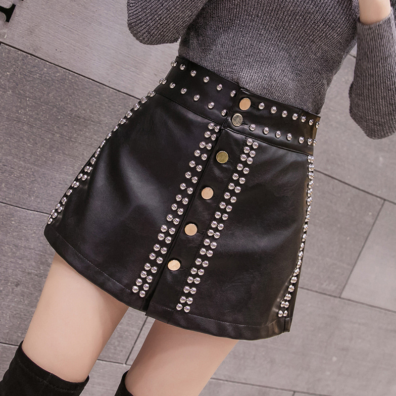 Rivet Leather Shorts Female Streetwear Hip Hop Punk Mini Sexy Shorts Women High Waist Loose Wide Leg PU Leather Shorts Skirts