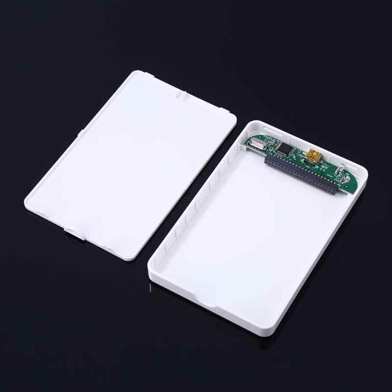 Carcasa de disco duro IDE portátil de 2,5 pulgadas caja de disco duro externa USB 2,0 caja de disco duro USB blanca con Cable USB