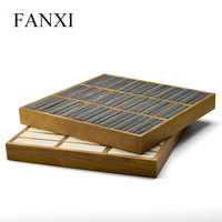 FANXI 2Pc ewelry Display Tray Solid Wood Ring Bangle Display Stand Jewelry Packaging Holder Showcase Organizer Microfiber insert
