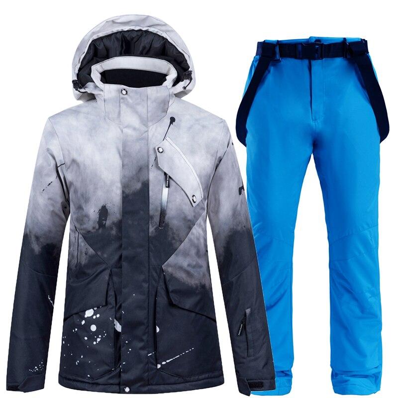 Terno de Esqui Impermeável à Prova de Vento Inverno ao ar Jaqueta de Esqui + Cinta Calça de Neve Engrossar Quente Feminino Neve Wear Snowboarding Conjuntos Terno Livre -30