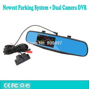 New 4.3  Full HD1080P Dual Camera Car DVR Camcorder Intelligent Visual Parking Alarm System Rearview Anti-glare Mirror Monitor