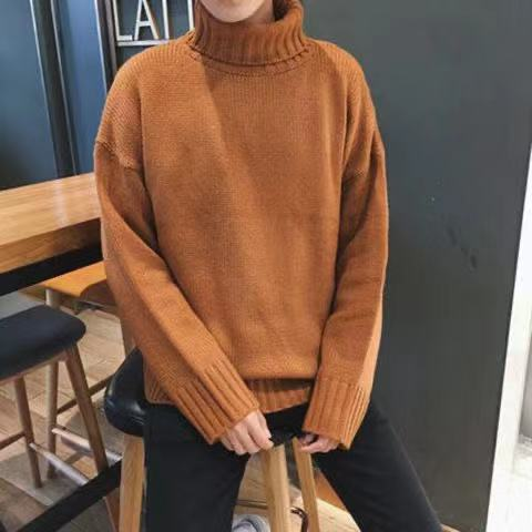 2019 Autumn And Winter New Men's Sweater Men's High Collar Solid Color Casual Sweater Men's Loose Knit Pullover