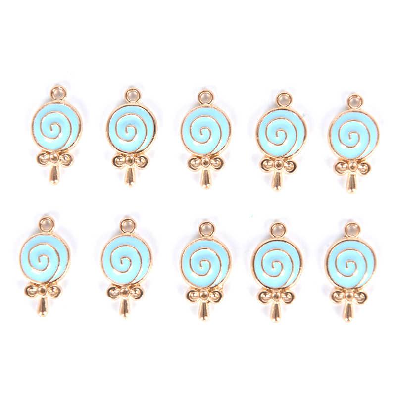 Sıcak 10 adet/grup emaye tatlı lolipop şeker Charms alaşım Metal kolye güzel lolipop Charms DIY takı yapımı bulguları