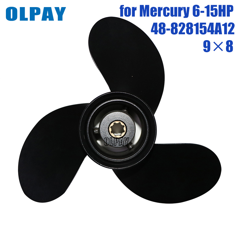 9 X 8 Aluminum Alloy Propeller 48-828154A12 For Mercury 6-15HP  Boat Engine
