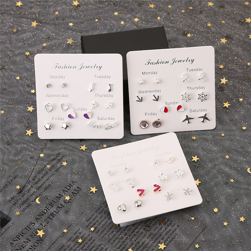 7 Pairs/set Stud Earrings For Women 2019 New Fashion Crystal Heart Geometric Flowers Cute Earring A Week Earrings Jewelry