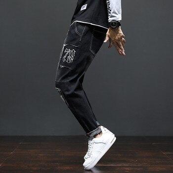 2020 New Mens Jeans Patchwork Slim Black Blue Man Ripped Denim Pants Male Streetwear Leisure hombre pantalon Clothing