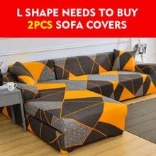 Cubierta del sofá de LICRA elástico para sala de estar, cubierta de sofá de esquina seccional elástica, fundas de fundas 1/2/3/4-cubre asientos para sofá