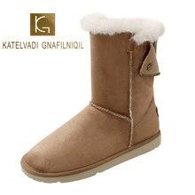 KATELVADI High Quality Women Winter Snow Boots Zip Round Toe Brown Flock Flats Heels Thick Plush Warm Shoes K-592