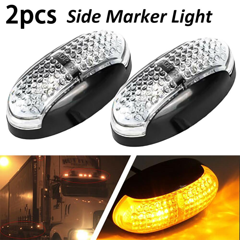2pcs Trailers 4 LED12V Truck Side Marker Indicator Lights ABS Amber Turn Signals Tail Lights License Plate Parking Light Lamp